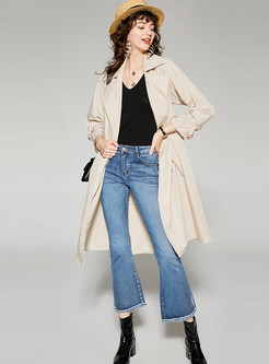 Apricot Turn Down Collar A Line Trench Coat With Belt