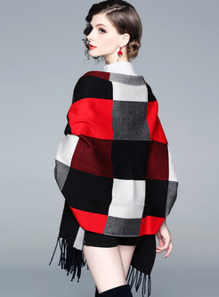 Muti-color Tassel Plaid Cloak Cardigan