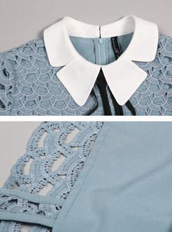 O-neck Tie Patchwork Openwork Bodycon Dress