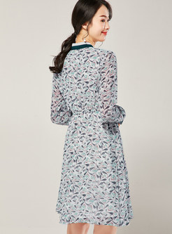 Tie-neck Print Patchwork High Waist A Line Dress