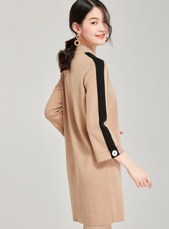 Casual Stand Collar Color-blocked Shift Knit Dress