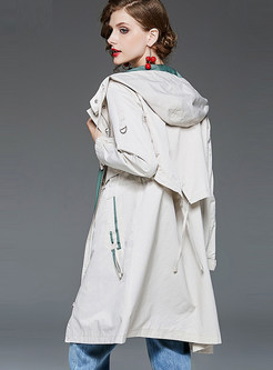 Patchwork Slim Hooded Trench Coat With Drawcord