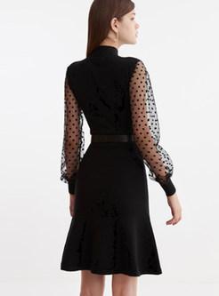 Black Turtleneck Perspective A Line Dress Without Belt