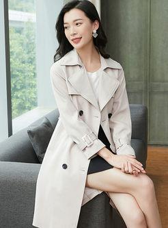 Turn Down Collar Long Sleeve Trench Coat