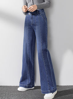 High Waisted Denim Wide Leg Long Pants