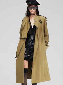 Stand Collar Patchwork Loose A Line Trench Coat