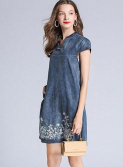 V-neck Embroidered Distressed Denim Shift Dress