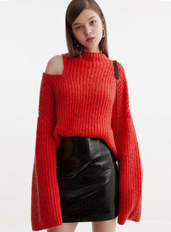 O-neck Off Shoulder Loose Pullover Sweater