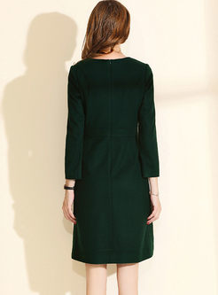 Green O-neck Long Sleeve A Line Dress