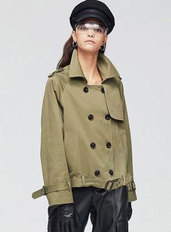 Turn Down Collar Long Sleeve Short Trench Coat
