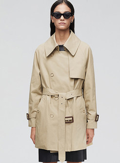 Solid Color Lapel Patchwork Trench Coat