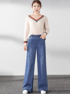 Elasticated Waist Denim Long Wide Leg Pants