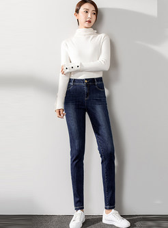 Elastic Waist Denim Pencil Pants