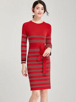 O-neck Long Sleeve Striped Bodycon Dress
