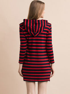 Casual Hooded Striped Mini Knit Dress