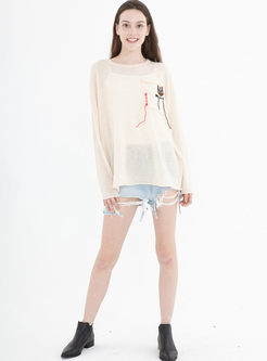 O-neck Long Sleeve Loose Pullover Sweater