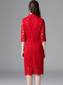 Mandarin Collar 3/4 Sleeve Lace Slim Dress
