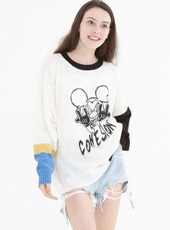 Color-blocked O-neck Cartoon Print Sweater