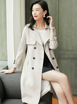 Turn Down Collar Long Sleeve Trench Coat
