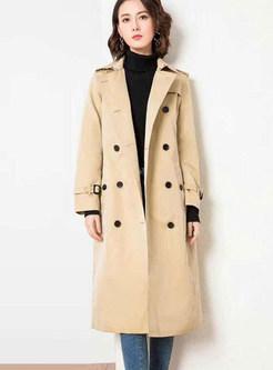 Khaki Lapel A Line Trench Coat
