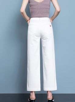 Casual White Straight Denim Pants