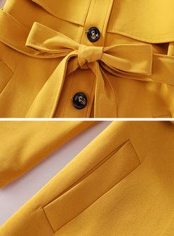 Turn Down Collar Slim Long Trench Coat