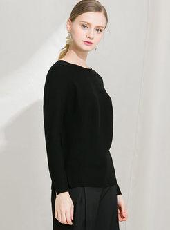Black O-neck Slim Pullover Slit Sweater