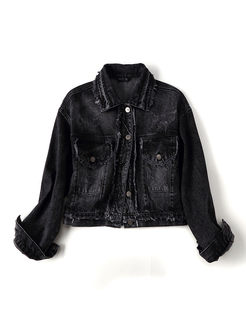 Black Turn Down Collar Denim Jacket