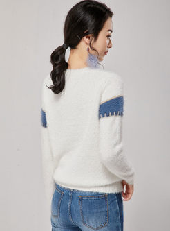 Long Sleeve Loose Patchwork Sweater