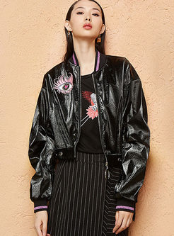Black Long Sleeve Embroidered Leather Jacket