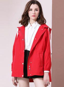 Red Hooded Irregular Loose Coat