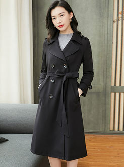 Black Notched Double-breasted Trench Coat