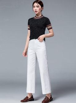 White High Waisted Denim Wide Leg Pants