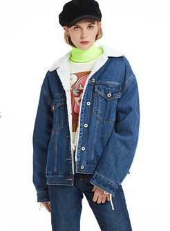 Casual Lapel Thick Cotton Denim Parka