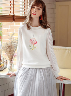 Lace Sleeve Print Patchwork Pullover Sweatshirt