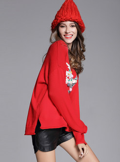 Christmas Embroidered Thick Pullover Sweater