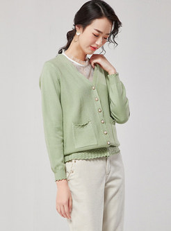Solid Color Single-breasted Slim Thin Sweater