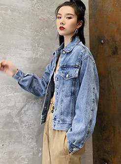 Casual Lapel Short Denim Coat