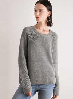 Brief Pullover Thick Knit Top
