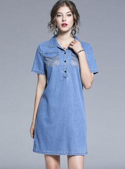 Lapel Short Sleeve Denim Loose Dress