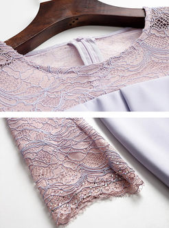 Sweet Lace Patchwork Falbala Bodycon Dress