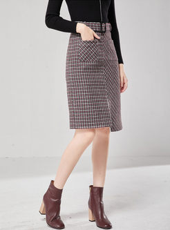 High Waisted Plaid Slit Slim Skirt