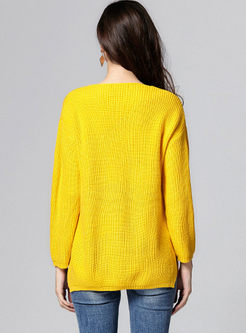 Solid Color Oversize Slit Sweater