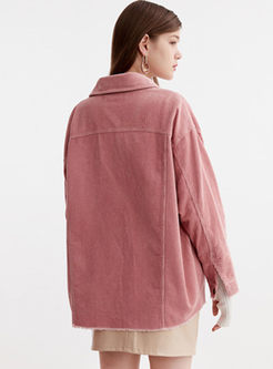 Lapel Single-breasted Corduroy Loose Coat