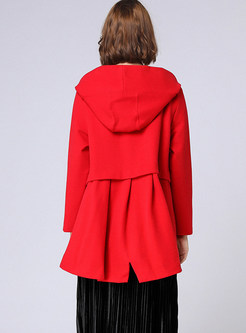 Red Plus Size Hooded Coat For Women