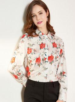 Turn Down Collar Print Silk Blouse