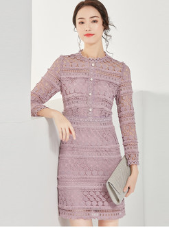 Purple Lace Openwork Bodycon Dress