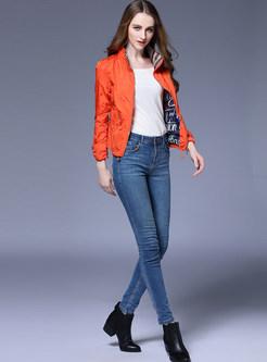 Orange Stand Collar Slim Short Jacket