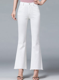 White High Waisted Flare Pants