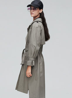 Lapel Long Sleeve Loose Shift Trench Coat